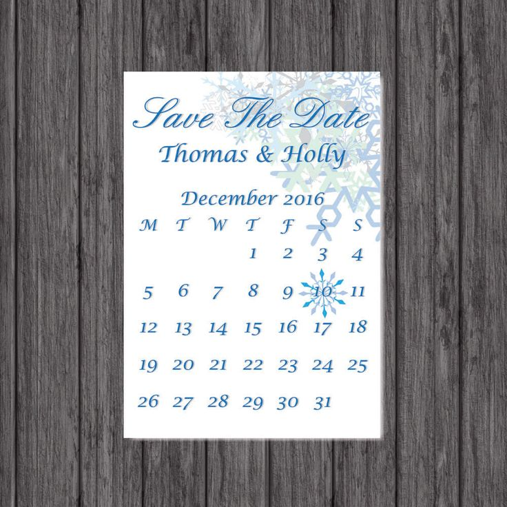 Save the Date, Winter Wedding, Print, Personalized by LoobyDooLetters on Etsy