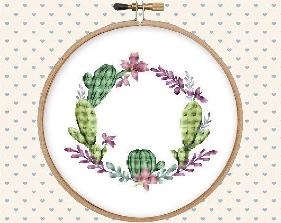 Cactus wreath cross stitch pattern pdf modern por GentleFeather