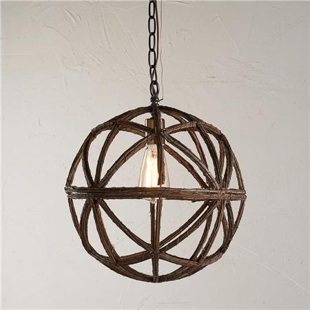 Twig Sphere Chandelier or Pendant Light. Instead of spending $200, I think I can DIY one with a twig decor ball from Michael's.