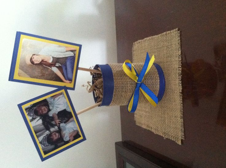 Then and Now graduation open house center piece #burlap