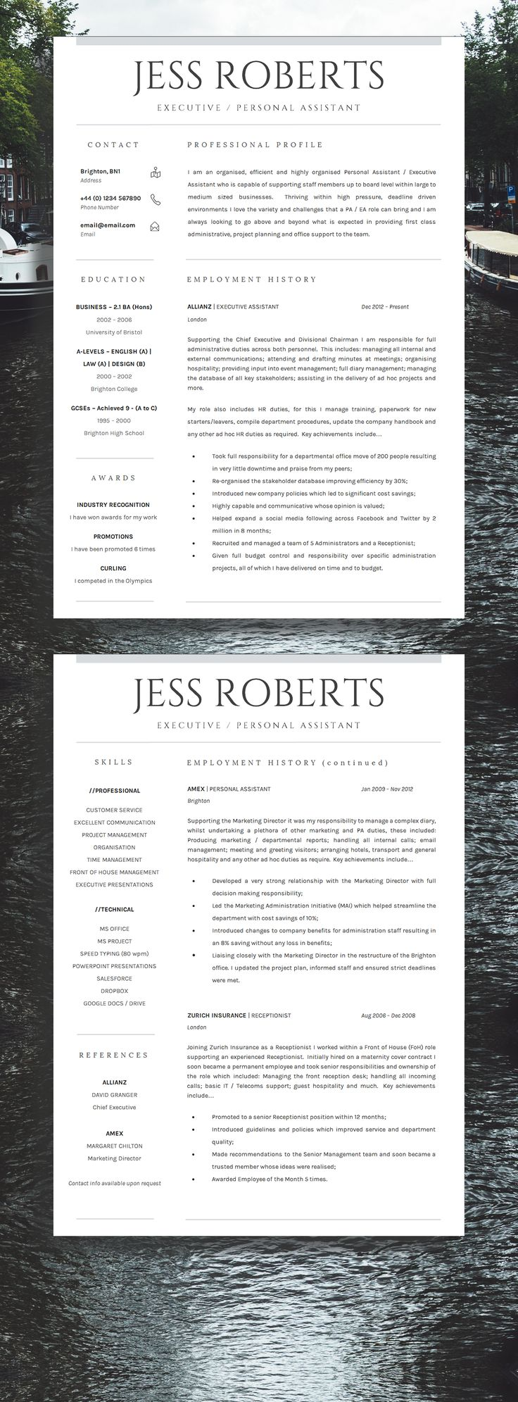 receptionist sample resume%0A Professional Curriculum Vitae   CV   Professional Resume Template  Get  More Interviews