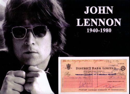 John Lennon – Repligraph  Hier handelt es sich um die Replik eines original Bankschecks der District Bank Limited London vom 03.10.1969 ausgestellt an Mrs. Queenie Epstein mit Foto. Der Scheck ist mit Fotoecken befestigt und läßt sich auch herausnehmen. Ein fantastisches Sammlerteil! www.starcollector.de