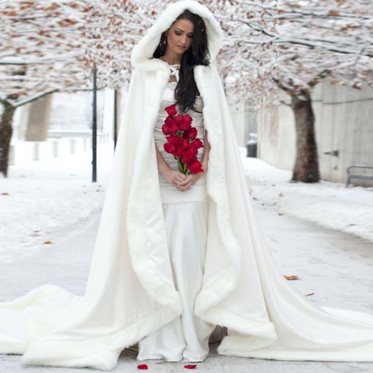 Details about Ivory Long Winter Bridal Cape Faux fur Trim Princess Hooded Wedding Cloak