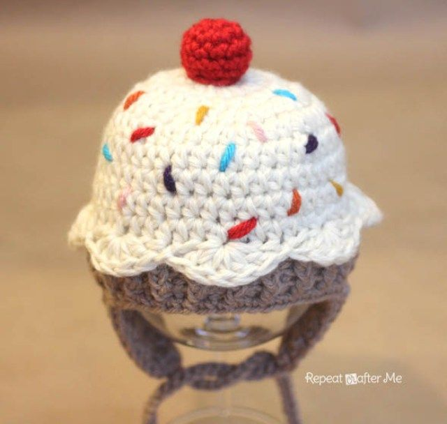 Crochet Cupcake Hat Pattern - Repeat Crafter Me