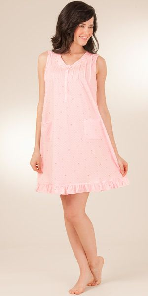 Sale - Cotton-Rich Sleeveless Short Knit Nightgown By Aria - Wispy Gem