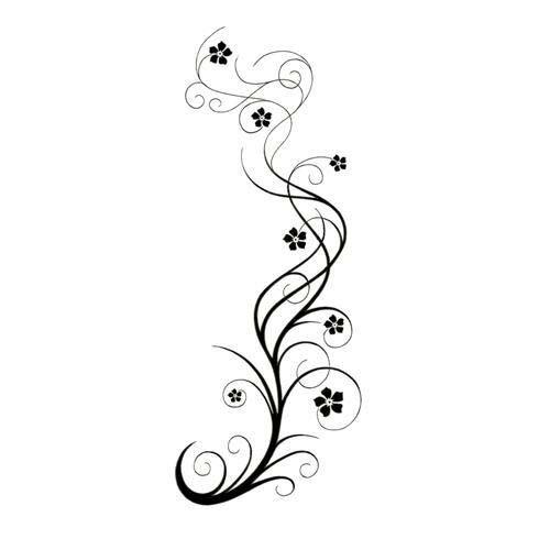 Vine Tattoo   Long Swirly Vine With Flowers Tattoo Design � TattooWoo.com