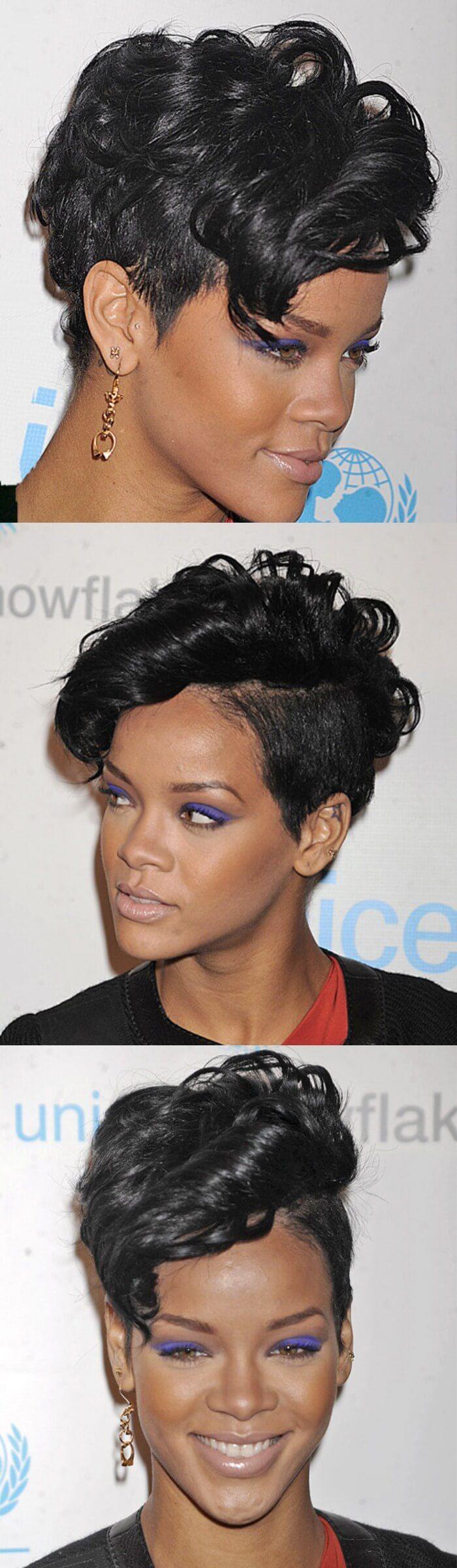 24. Wellenförmige Alternative Hinterschnitt Frisur für kurzes schwarz gefärbt…