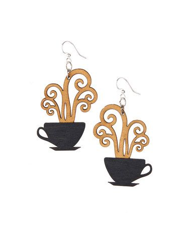 This Black & Tan Coffee Cups Drop Earrings is perfect!