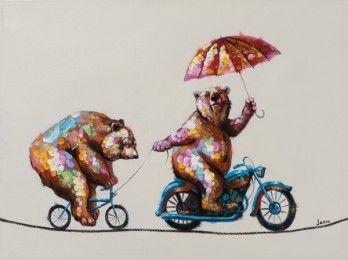 Schilderij beren op fiets 60x80