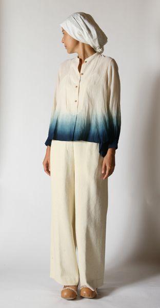 indigo dip dye blouse; bleach out the pink linen blouse & dye it
