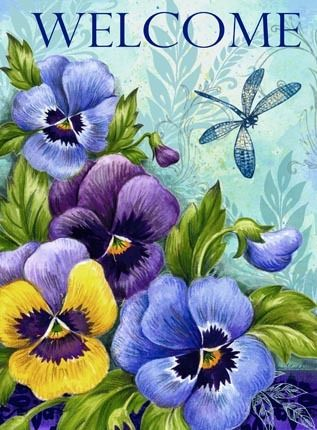 """Pansies and Dragonfly"" art print, ""WELCOME"""