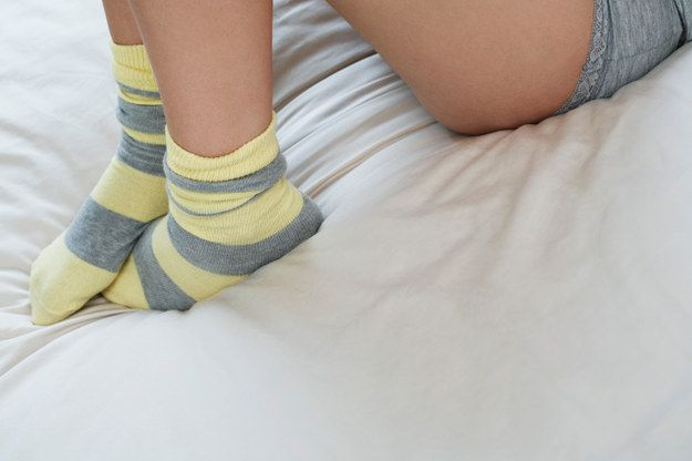 Give yourself a healing foot treatment while you sleep. Apply peppermint moisturizer or Vaseline to your tired and cracked feet, and then throw on some comfy, cushioned socks. And head to bed. That's IT. Wake up with soft, smooth feet.
