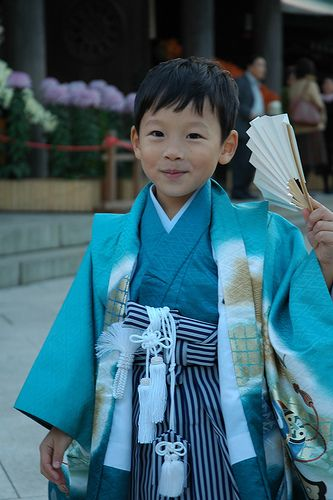 Cute little boy at Shichi-Go-San, a traditional rite of passage and festival day in Japan for three and seven year old girls, and three and five year old boys, held every November 15th.