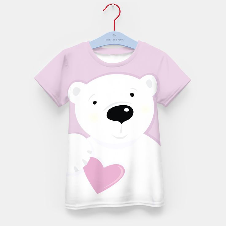 Kids artistic T-Shirt with Teddy bear White, Live Heroes