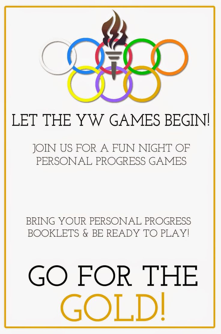 {Personal Progress} YW Personal Progress Olympics: Game Night from Little LDS Ideas