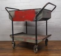 Industrial mill trolley cart vintage antique retro storage metal Cabinet castors
