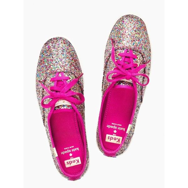 Kate Spade Keds X Kate Spade New York Glitter Sneakers ($60) ❤ liked on Polyvore featuring shoes, sneakers, lace up sneakers, tennis trainer, tennis shoes, laced shoes and laced up shoes