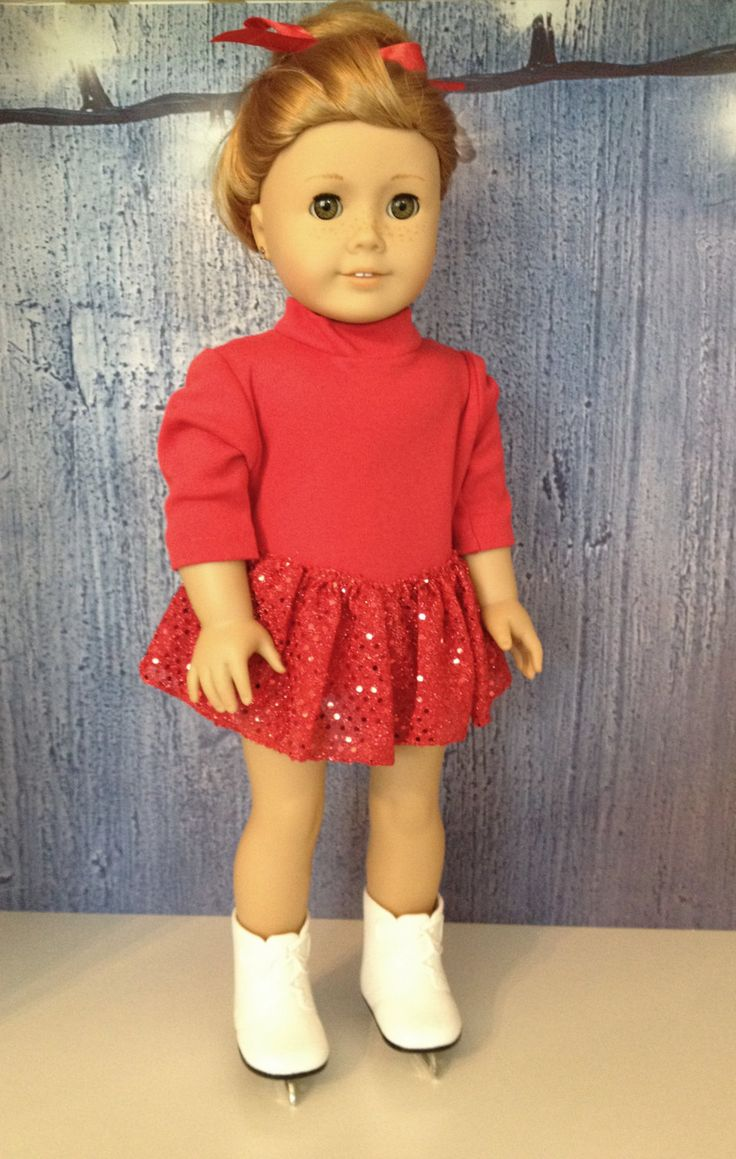 Doll Skating Outfit, 18 Inch Doll Skating Outfit, Red Skating Outfit, Red Skating Outfit with attached sparkle skirt by LivingCoastalDesign on Etsy