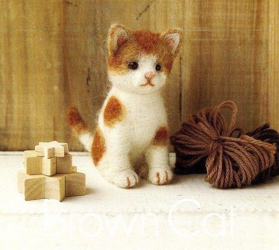 DIY handmade Japanese Felt Wool Cat Kit Packages  by MeMeCraftwork, $20.00
