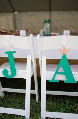 Las iniciales de los novios en sus sillas