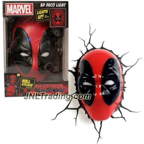 Product Features - Includes: DEADPOOL MASK 3D Deco night light, crack sticker, wall plugs, wall screws and instructions - Provides comforting lights for infants and children to fall asleep while provi
