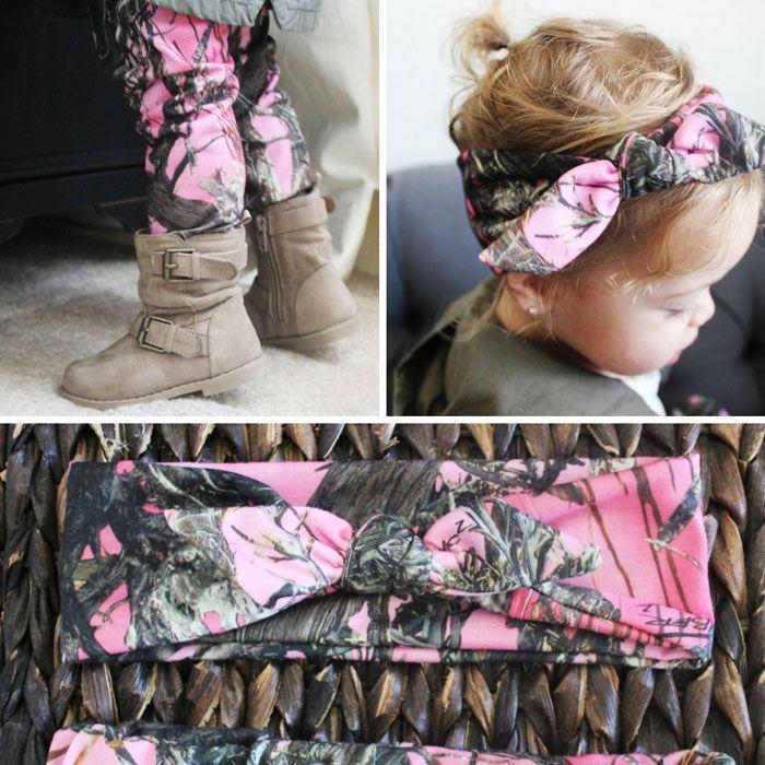 Pink Camo Baby Leggings and Headband Set