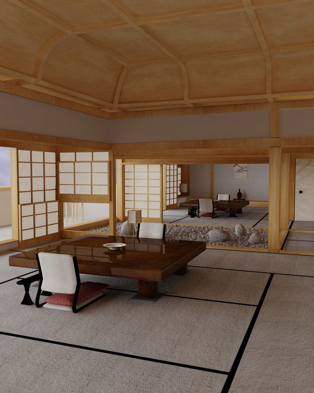Tatami mats and shoji screens, together with other great features to make this interior truly amazing.