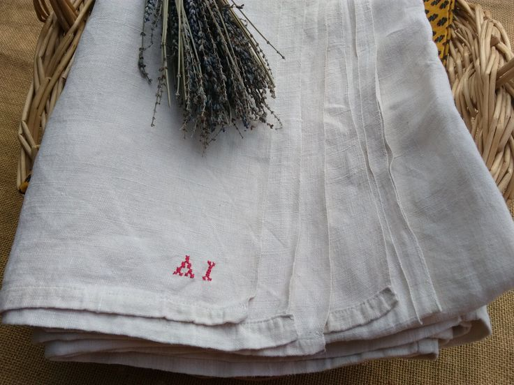 19th French Flat Sheet Off White Rustic Linen Red Monogram Seamed Bed Sheet Bedspread Curtain Sewing Projects #sophieladydeparis by SophieLadyDeParis on Etsy