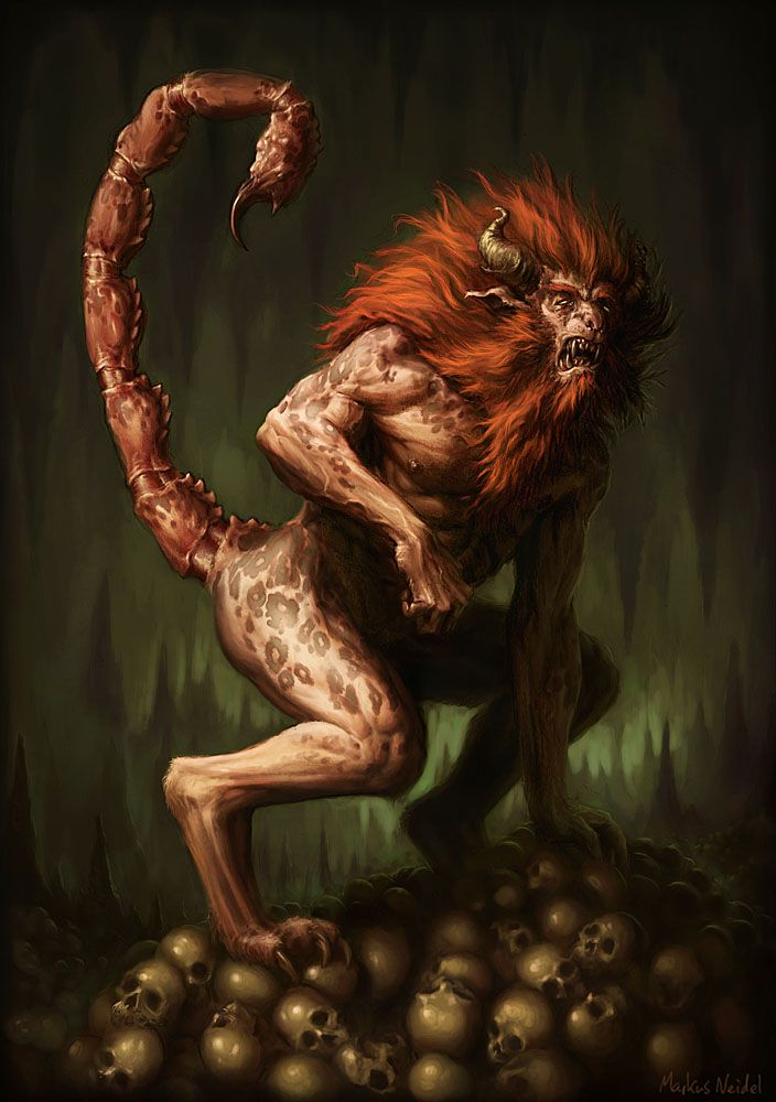 #Manticore is a legendary creature similar to the Egyptian #Sphinx. It has the body of a red lion, a human head with three rows of sharp teeth (like a shark), and a trumpet-like voice. #Mythology