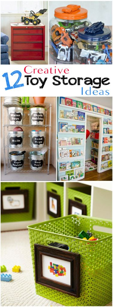 12 Creative Toy Storage Ideas. I love the pictures on the toy baskets!
