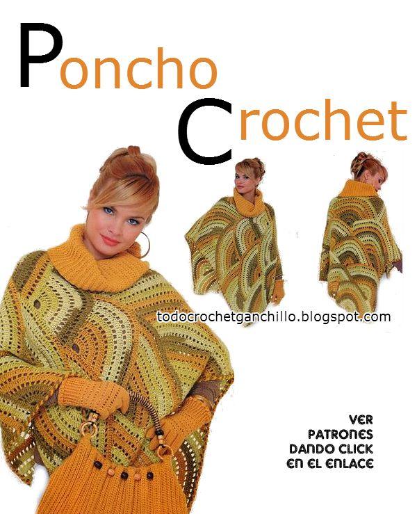 Patrones y moldes de poncho tejido al crochet con diseño de semicirculos con cartera crochet