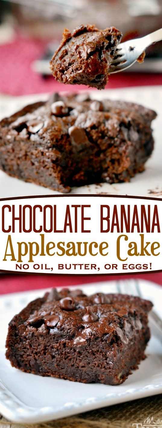 This one-bowl Chocolate Banana Applesauce Cake is made without oil, eggs, or butter and is perfect for snacking! Beautifully moist and perfectly decadent, you won't even miss the frosting! // Mom On Timeout: