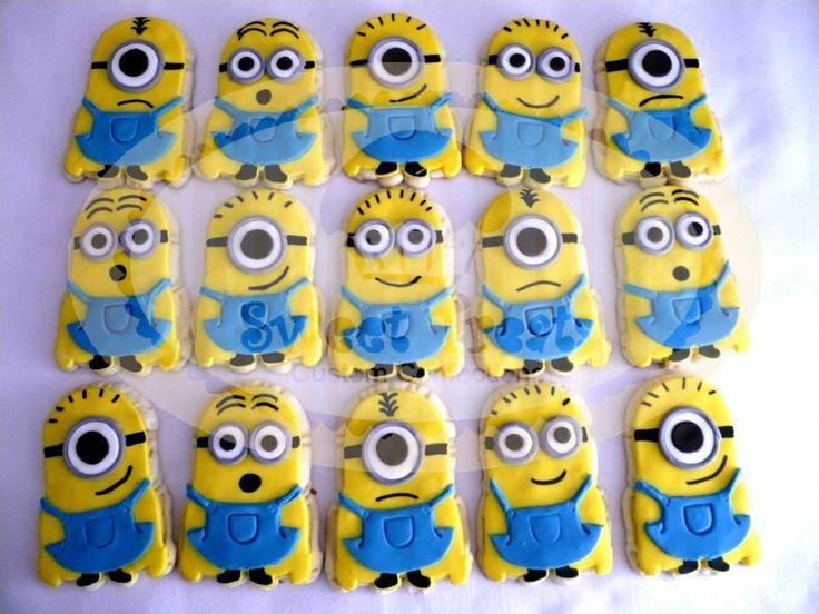minions cookies :)Cookies Ideas, Treats Sj, Despicable, Sweets Treats, Sweet Treats, Cookies Cluster, Treats Mi, Minions Parties, Minions Cookies