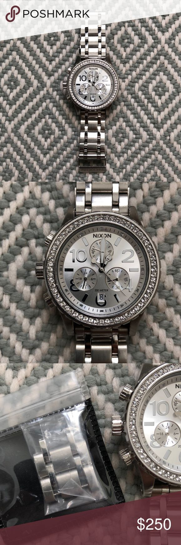 Nixon Women's Watch 38 - 20 CHRONO 38 mm ALL SILVER CRYSTAL Women's Nixon Watch  Worn only a few times.  Original packaging. Comes with all extra links and operations manual Nixon Accessories Watches