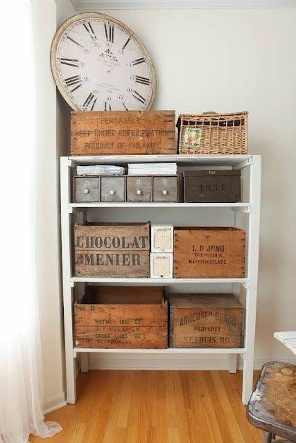I would line these old crates with felt on the bottom.  I love this idea.