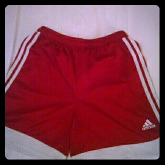 2 Pair Woman's Adidas Soccer Shorts Woman's red and blue Climamax Adidas soccer shorts; size M.  Preloved in good condition. Adidas Shorts