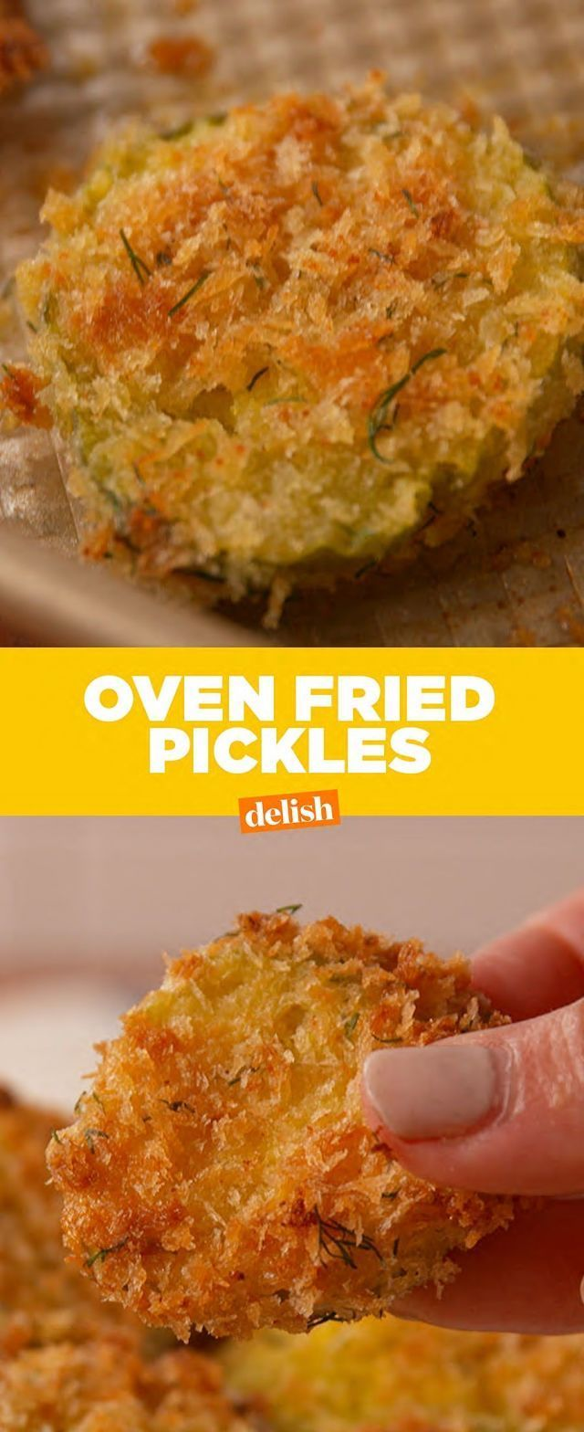 Ingredients      1 c. Sliced pickles     1 c. panko bread crumbs     2 tbsp. melted butter     4 tbsp. finely chopped fresh dill     1/2 tsp. garlic powder     1/4 tsp. cayenne pepper     kosher salt     Freshly ground black pepper     1/2 c. all-purpose flour     2 large eggs, lightly beaten