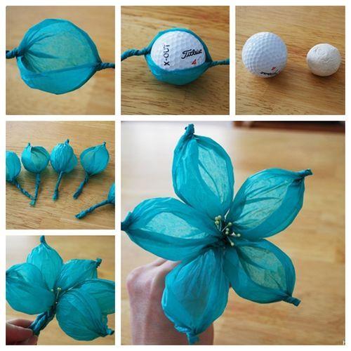 Wonderful DIY Gorgeous Paper Flower Using Golf Ball / WonderfulDIY.com on imgfave