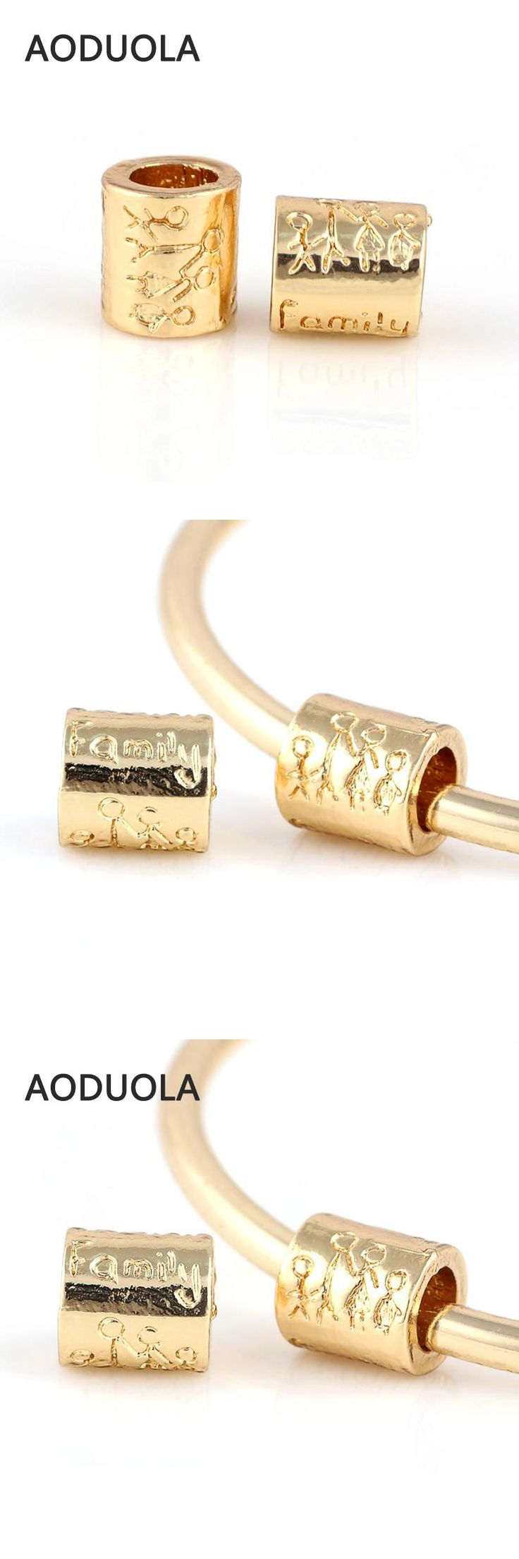 10 Pcs a Lot Gold-Color Family Letter Beads European Big Hole Bead DIY Metal Spacer Charm Fit For Pandora Charms Bracelet