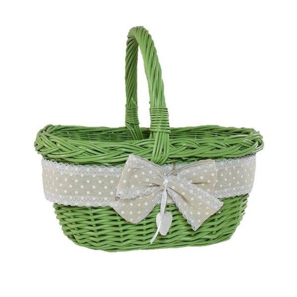 """Wiklinowy koszyk """"MIASTOWY"""" w kolorze zielonym zdobiony wstążką z kokardą"""