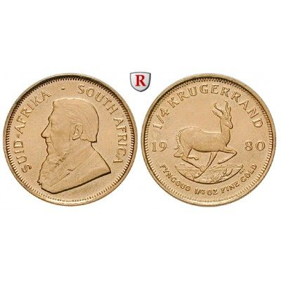 Südafrika, Republik, 1/4 Krügerrand seit 1980, 7,78 g fein, bfr.: Republik seit 1961. 1/4 Krügerrand 7,78 g fein, seit 1980.… #coins
