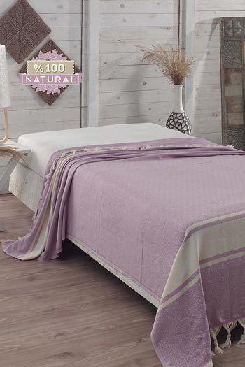 Halványlila pamut ágytakaró