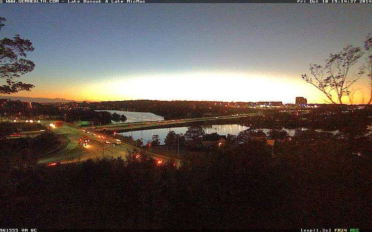 Sunset seen over Lake Banook, Dartmouth, Nova Scotia - October 10, 2014.  http://www.novascotiawebcams.com/en/webcams/lake-banook-lake-micmac/