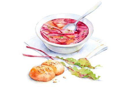 watercolor food for Afisha-Eda on Behance