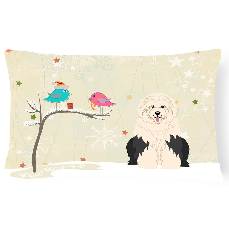 Carolines Treasures Christmas Presents Between Friends Old English Sheepdog Outdoor Pillow - BB2568PW1216