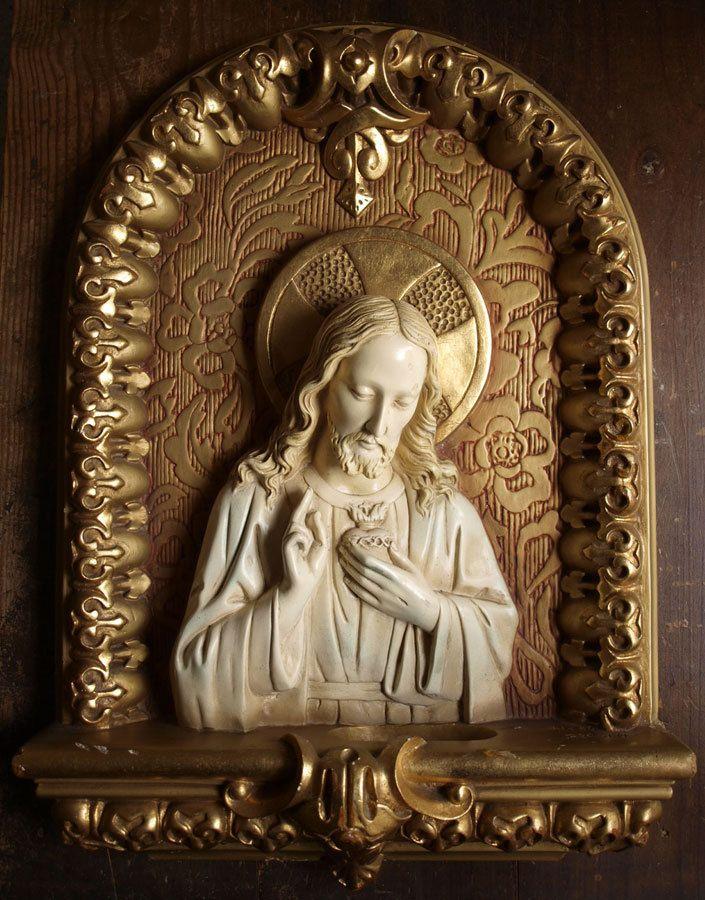 Etsy のAntique Religious Art Relief Sacred Heart of Jesus Catalonia Spain 1930s /821(ショップ名:GliciniaANTIC)