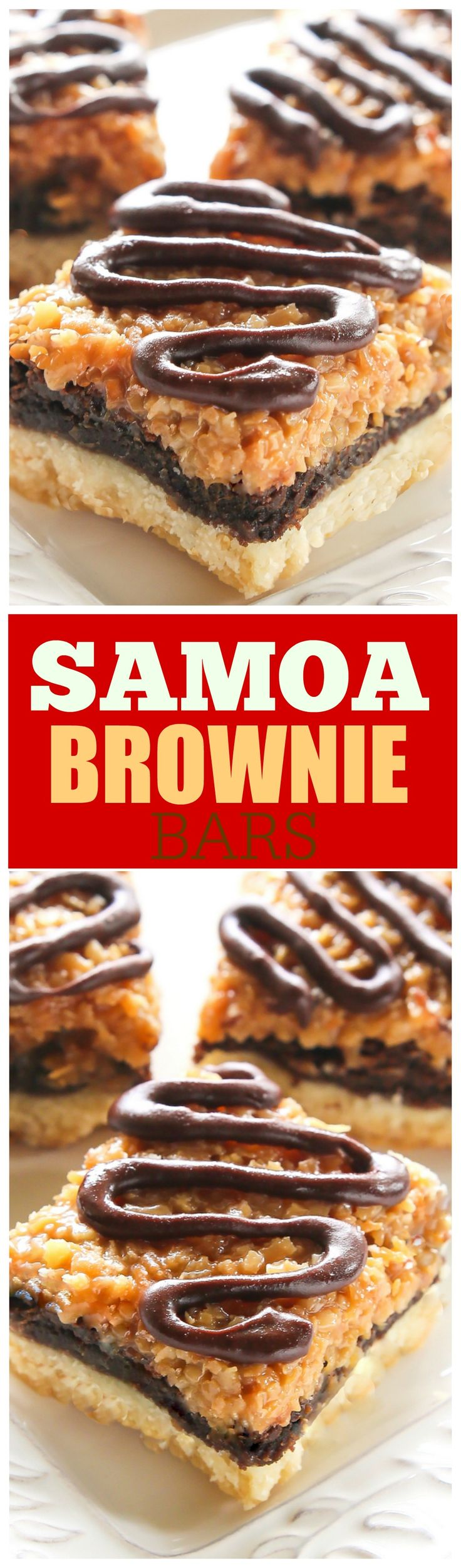 Samoa Brownie Bars - A shortbread crust topped with a brownie layer and caramel coconut inspired by the girl scout cookie. the-girl-who-ate-everything.com
