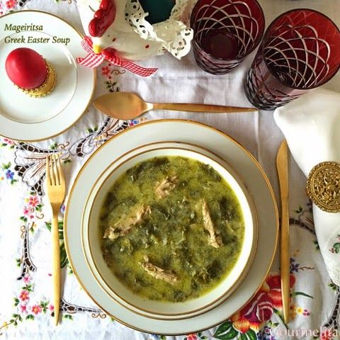 Easter 'Magiritsa' soup. Greek traditional lamb or goat soup.