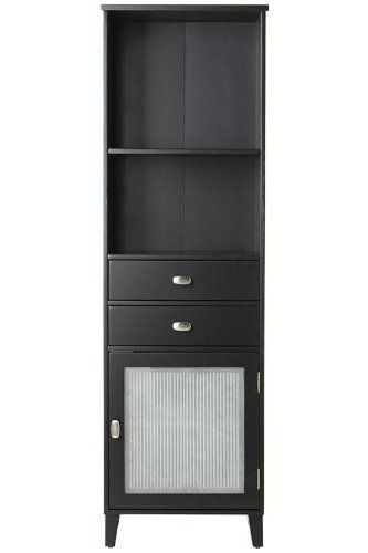 """Moderna Linen Storage Cabinet With Glass Door, 65Hx20Wx14D, BLACK by Home Decorators Collection. $389.00. 65""""H x 20""""W x 14""""D.. The Moderna Linen Cabinet with Glass Door is a practical storage unit for your bath, including two drawers and storage space concealed by a glass door. Enhanced by a smooth finish. Part of the Moderna Bath Collection. Actual size is 65Hx20Wx14D"""