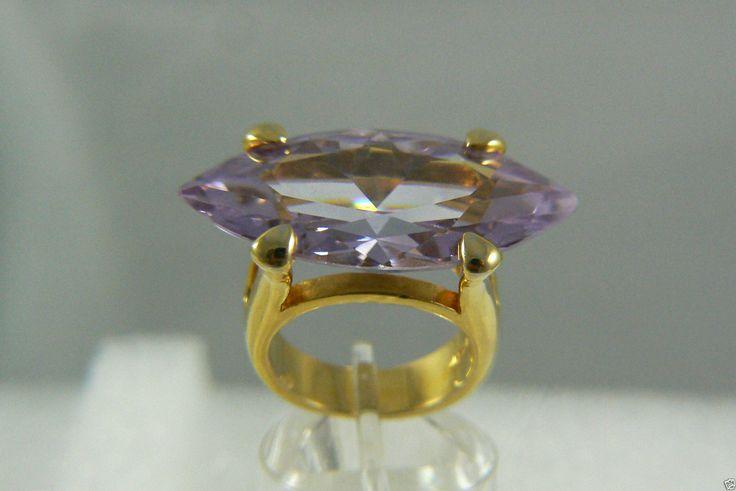 Noir Lavender Marquis Cut CZ Gold Tone Fabulous Fashion Ring Sz 6 Super Large | eBay